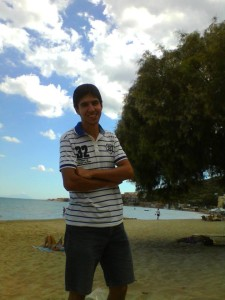 A picture of Mitko on the sandy Karfas beach